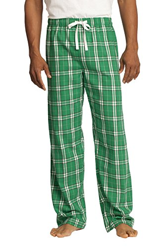 - District Men's Young Flannel Plaid Pant S Kelly Green