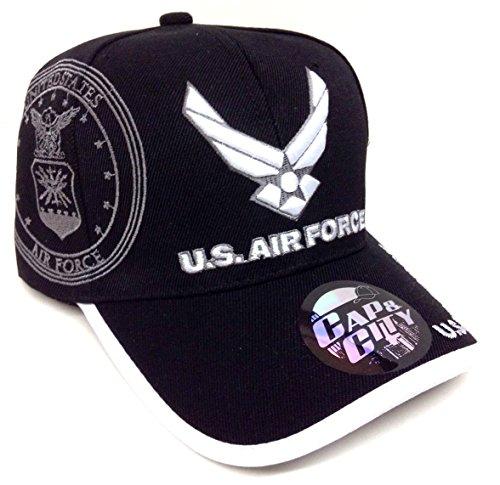 Black USAF Wings Logo Air Force Hat