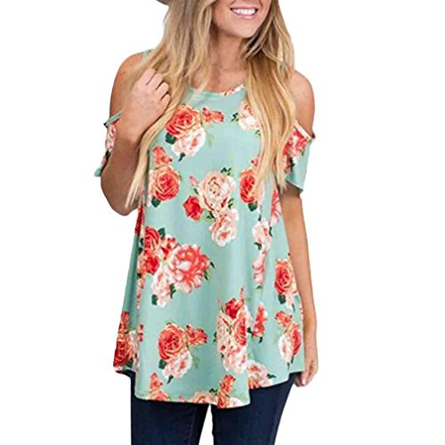 Price comparison product image Hot Shirt! AMA(TM) Women Casual Floral Off Shoulder Short Sleeve Tank Tops Blouse T-Shirt Tops (L, Sky Blue)