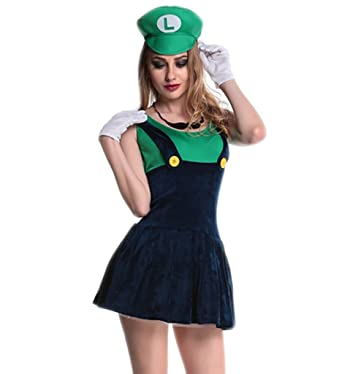 Eternatastic Womens Halloween Costume Nintendo Super Mario Adult Costume Mustache Green M  sc 1 st  Amazon.com & Amazon.com: Eternatastic Womens Halloween Costume Nintendo Super ...