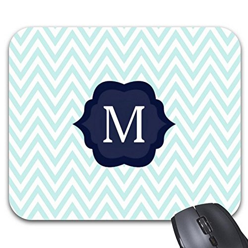Goodaily Mousepad Mint Blue &Amp; White Chevron Navy Monogram Design Mouse Mat- Stylish Office Accessory