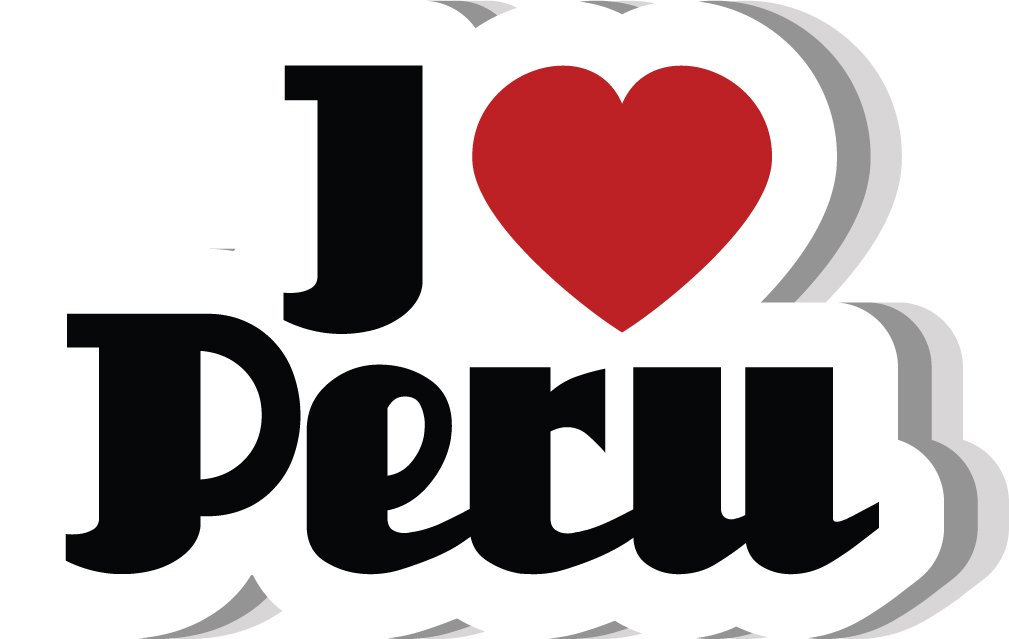 I Love Peru Slogan Label Home Decal Vinyl Sticker 14'' X 9''