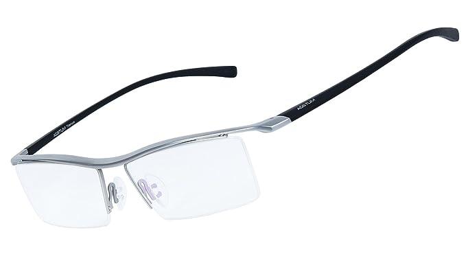 2c37ea5d00 Agstum - Gafas para hombre, de titanio puro, parcialmente sin montura, gafas  formales, lentes transparentes Plateado plata: Amazon.es: Ropa y accesorios