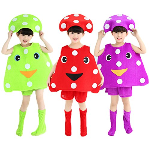 (Halloween Costumes Children/Adult Mushroom Style Clothes Christmas Cosplay Clothes (L-Child Height 110-120cm,)
