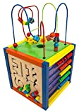 """MMP Living 6-in-1 Play Cube Activity Center - Wood, 12"""" - 6 Sided Including Race Track with car, Xylophone with Mallet, Clock, Abacus, Block Track and 3 Different Bead Play Options"""
