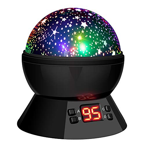(LBell Star Sky Night Light, Rotating Cosmos Star Projector Lamp with LED Timer Auto-Shut Off, Color Changing, USB Cable Plug for Baby Kids Nursery Bedroom Living Room)