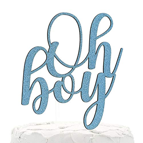 - NANASUKO Baby Shower Cake Topper - Oh boy - Double Sided Baby Blue Glitter - Premium Quality Made in USA