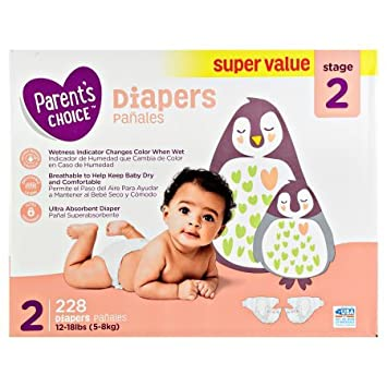 Parents Choice Diapers, Stage 2, 228 Diapers