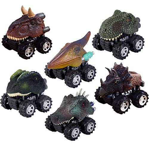 Oiuros Pull Back Dinosaur Cars, Dinosaur Cars Toys with Big Tire Wheel for 3-14 Year Old Boys Girls Creative Gifts by, 6-Pack ()