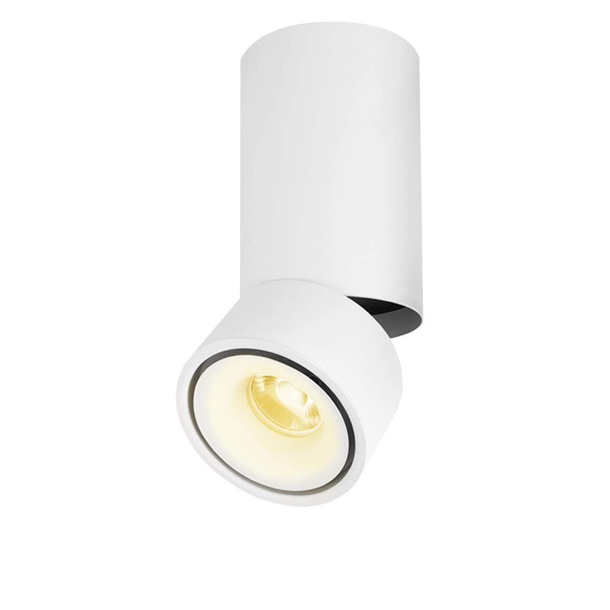CHMPH Indoor 15W LED Spotlight Wall Light 360°Adjustable Ceiling Downlight/Surface Mounted COB Lighting LED/Warm White 3000K/ 10X20CM/Aluminum Wall Lamp or Spot Light (White-3000K)