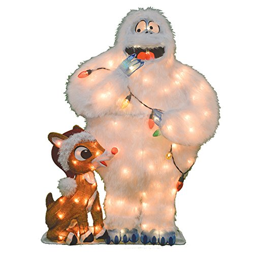 ProductWorks Product Works 20305_L2D Decoration, 80 Lights 32-Inch Pre-Lit Rudolph and Bumble Christmas Yard Decorat, Incandescent (Christmas Illuminated Decorations Outdoor)