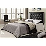 """Queen Size 60"""" Headboard with Adjustable Legs, Black Leatherette, Jewels"""
