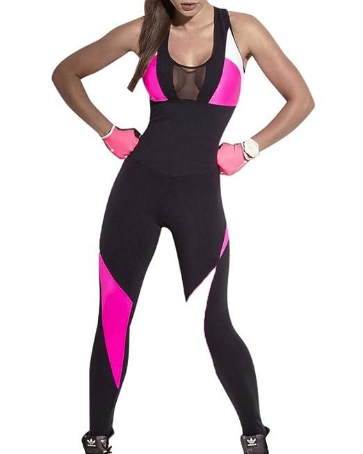 Mujer Sports Bodysuit Moda Tul Splicing Yoga Jogging ...
