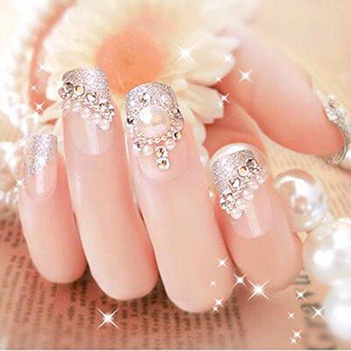 Dongcrystal 24Pcs 3D Bling Nail Art Jewelry Glitter Rhinestone Pearl Decor Nail Tips Fake Nails