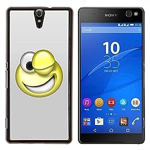 Caucho caso de Shell duro de la cubierta de accesorios de protección BY RAYDREAMMM - Sony Xperia C5 Ultra - Smiley divertido 3D