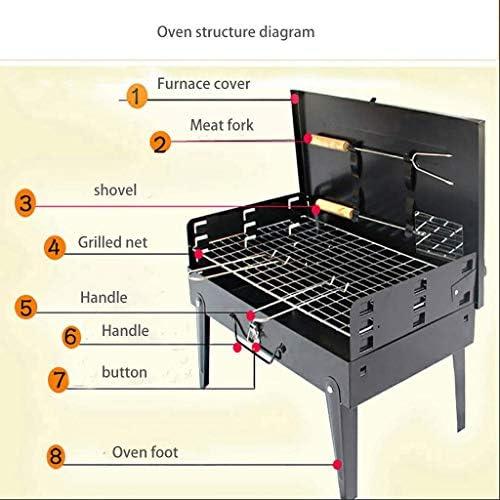 PORIN Grill Portable Pliable Facile à Nettoyer Résistant à la Chaleur BBQ extérieur Grill Domestique avec Fourchette et Pelle à Viande pour Pique-niques, Camping