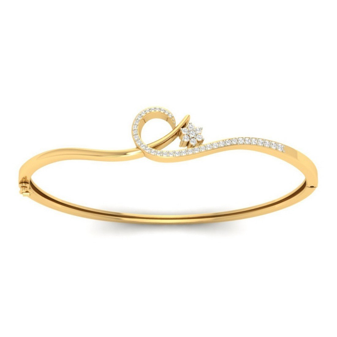 HallMarked IJ| SI 0.29 cttw Round-Cut-Diamond bangle-bracelets Size 14K Yellow Gold 8.25 inches