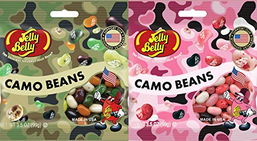 Jelly Belly Variety Camo & Pink Camo Bean Jelly Beans - 3.5 Oz (Pack of 4)