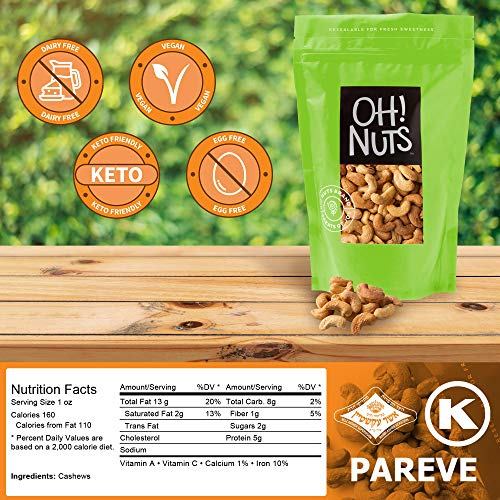Oh! Nuts Dry Roasted Unsalted Cashews | All-Natural, No Additives, No Salt, No Oil| Fresh & Healthy, Protein Keto Snacks | Resealable 2-Lb. Bulk Bag | Low Sodium, Vegan & Gluten-Free Snacking 2