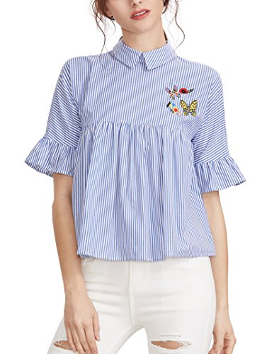 SheIn Striped Embroidered Collared Babydoll