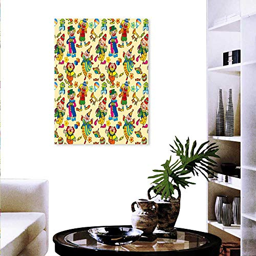 Nursery Canvas Wall Art Cute Owls on Branches Colorful Happy Animals Flowers Adorable Design Customizable Wall Stickers 20