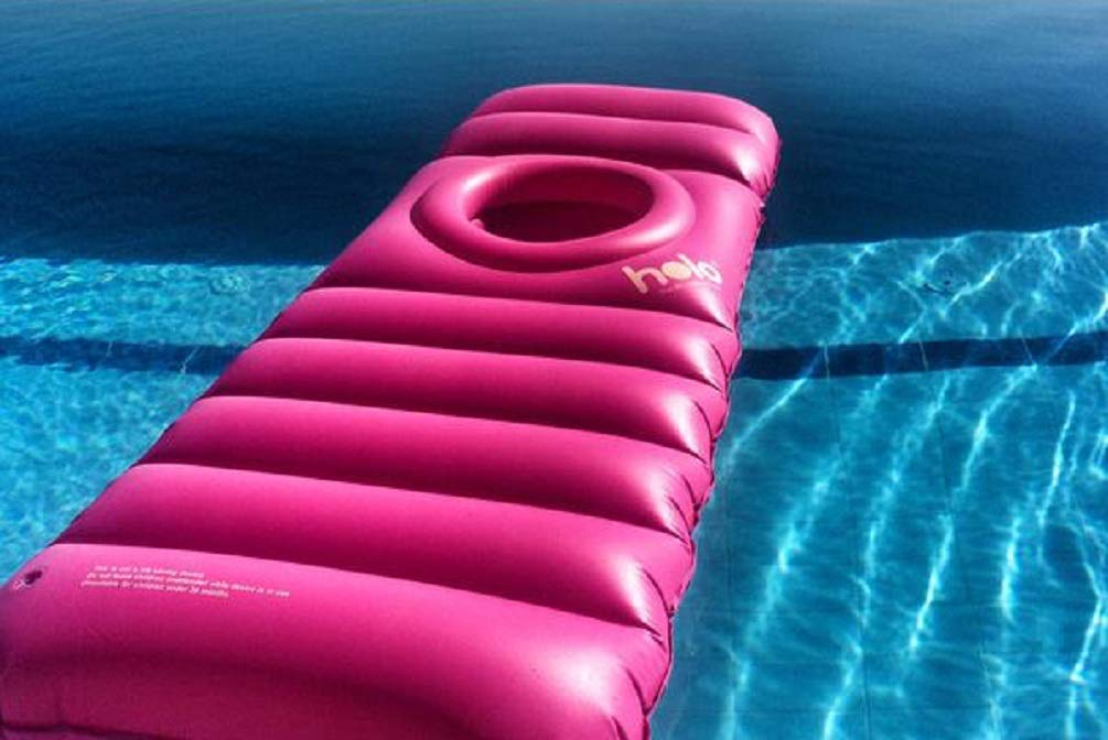 The Original Inflatable Maternity Pillow Raft with a Hole to Lie on Your Stomach During Pregnancy Holo Pink