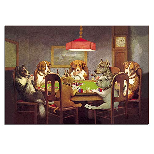 Karen Max Pintura Al oleo Arte De La Pared Impresiones De Lienzo Perros Jugando Al Poquer No Enmarcados Imagenes De Animales para (Sin Marco,60x90 cm) (Sin Marco,60x90 cm)
