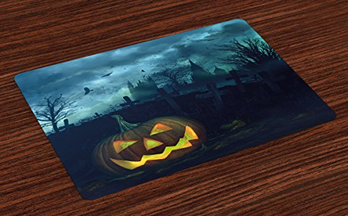 (Lunarable Halloween Place Mats Set of 4, Halloween Pumpkin in Spooky Graveyard Eerie Gloomy Stormy Atmosphere, Washable Fabric Placemats for Dining Room Kitchen Table Decoration, Petrol Blue)
