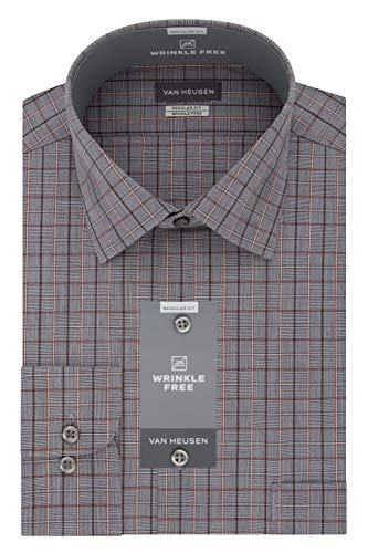 Van Heusen Men's Regular Fit Multi Check Spread Collar Dress Shirt, Dark Topaz 14.5