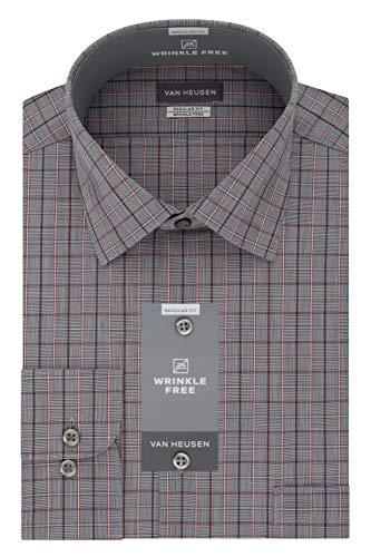 Topaz Neck - Van Heusen Men's Regular Fit Multi Check Spread Collar Dress Shirt, Dark Topaz 17