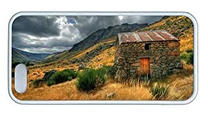Cute for sale iphone 5 cover Glaciar vale old house cloudy sky TPU White for Apple iPhone 5/5S