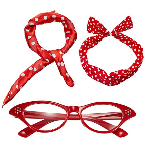 50's Costume Accessories Set - Dot Chiffon Scarf,Cat Eye Glasses,Bandana Tie Headband (Red, OneSize)