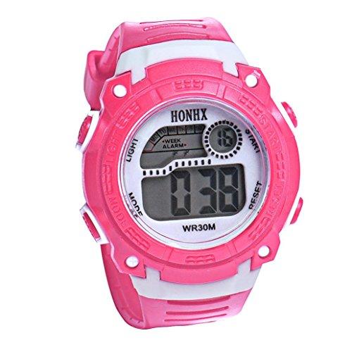 Jelly 5 Digital Sport (Han Shi Kids Watch Children Girls Digital LED Quartz Alarm Sports Wristwatch Christmas Clock (Pink, L))