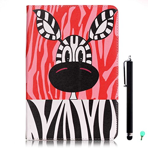 iPad Air/Air2 Case, iPad 5/6 Case, fengus Ultra Slim PU Leather Cover Stand Flip Case Cover with Cute Pattern Design Back Shell for Apple iPad Air/iPad Air 2+Stylus+Dust plug-Zebra