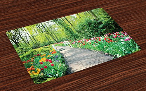Lunarable Garden Place Mats Set of 4, Tulips in Keukenhof Gardens and Path Along Colorful Flowers Trees Nature Landscape, Washable Fabric Placemats for Dining Room Kitchen Table Decoration, Multicolor
