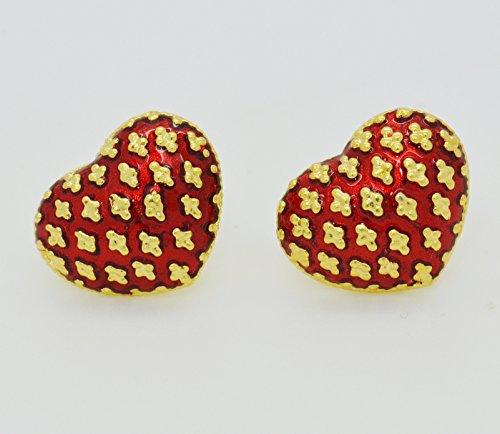Thai Jewelry 22k 24k Yellow Gold Plated Women Girl Stud Earrings Enamel Red Heart