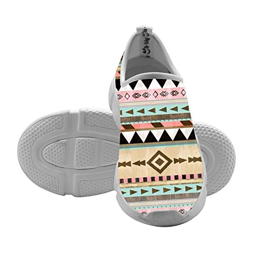 Kids Sneakers Tribal Art Aztec 3D Print Slip-On Shallow Loafers Elastic Sport Flyknit Shoes