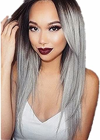 Hyperia Long Silky Black to Grey Straight Ombre Wig Heat Resistant Fiber Synthetic Wig