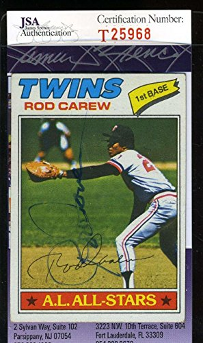 (ROD CAREW 1977 TOPPS COA Hand Signed Authentic Autographed - JSA Certified - Baseball Slabbed Autographed Cards)