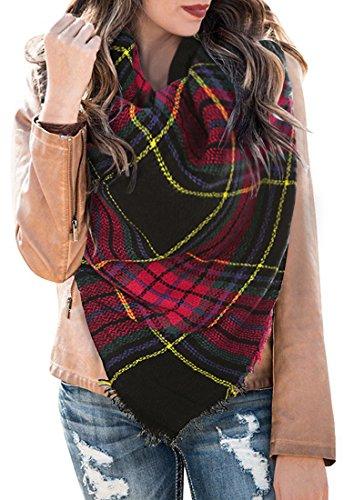 0071b0ce Umeko Womens Fall Plaid Blanket Scarfs Fashion Tassel Warm Christmas Gift  Wraps (TP06)