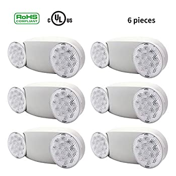 Image of LEISURELIFE LED Emergency Light Fixture, Two Adustable Round Head, 6 Pack, UL Certified Emergency Light Fixtures