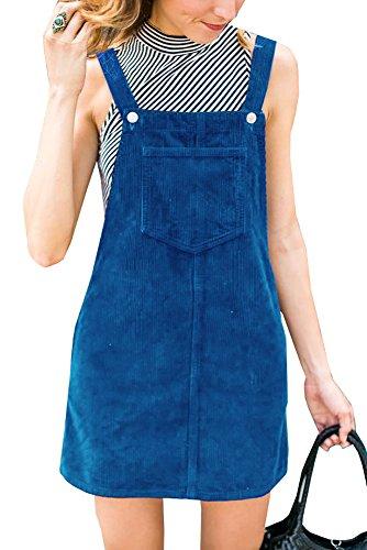 Blue Corduroy Dress - Hestenve Women's Plus Size Straps Corduroy Cord Pinafore Bib Overalls Skirt Dress Pocket