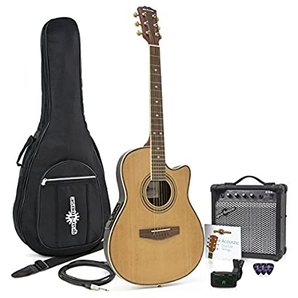 Guitarra Electroacústica de Tapa Trasera Redonda + Pack con Ampli de 15W Natural