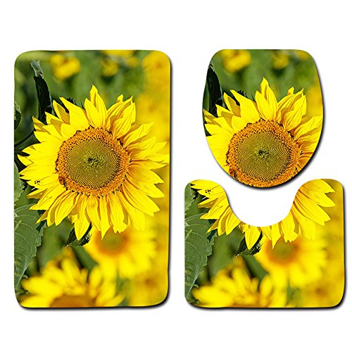 Sunflower Non-Slip Bath Mat Rugs Set Pedestal Rug + Lid Toilet Cover + Bath Mat 3 pcs