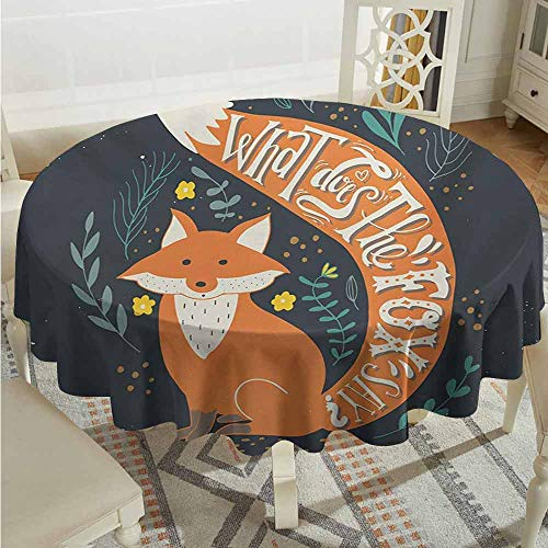 Suchashome Polyester Round Tablecloth Vintage What Does The Fox Say Quote Hipster Animals Know Better Habitat Creature Illustration Multi Christmas Tablecloth Diameter 60