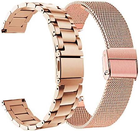 Compatible Garmin Vivomove HR Bands Set ViCRiOR Stainless Steel + Mesh Strap Bracelet Watch Band Replacement for Garmin Vivomove HR Sport/Premium Rose Gold
