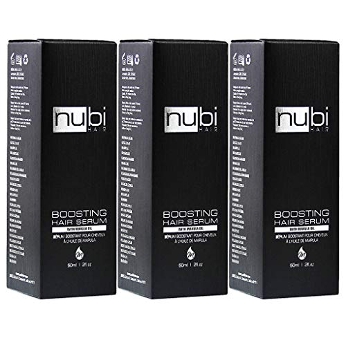 Nubi Boosting Hair Serum with Marula Oil, Vitamin E and Aloe Vera, 2 Fl. Oz./60 Ml (Pack of 3) ()