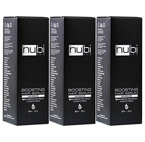 Nubi Boosting Hair Serum with Marula Oil, Vitamin E and Aloe Vera, 2 Fl. Oz./60 Ml (Pack of -