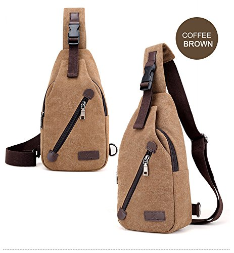 liujingjing Chest Pack Sling Backpack Shoulder Chest Crossbody Bag Elastic Waist Bag For Men Women Anti Theft Casual Travel Hiking Lightweight Outdoor Sports Canvas Bag Coffee