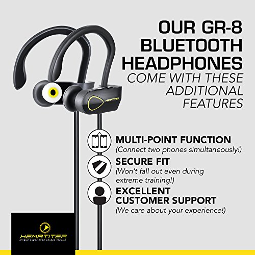 Hematiter Bluetooth V4.1 Headphones | Best Wireless Earbuds for Sports, Workouts & Running | Waterproof Earphones | Up to 8 Hours of Music with Premium Sound & Echo Elimination | Lifetime Warranty